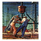"""Drilling for Oil,"" November 9, 1946 Gicleetryck av Mead Schaeffer"