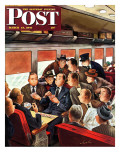 &quot;Commuter Card Game,&quot; Saturday Evening Post Cover, March 15, 1947 Giclee Print by Constantin Alajalov