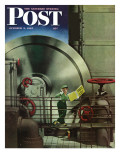 """How to Operate a Power Plant,"" Saturday Evening Post Cover, October 2, 1943 Giclee Print by Russell Patterson"