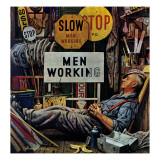 """Men Working,"" April 12, 1947 Giclee Print by Stevan Dohanos"