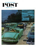 &quot;Drive-In Movies,&quot; Saturday Evening Post Cover, August 19, 1961 Reproduction proc&#233;d&#233; gicl&#233;e par George Hughes
