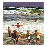 """Surf Swimming,"" August 14, 1948 Reproduction procédé giclée par John Falter"