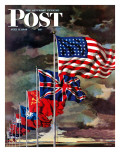 """Allied Forces Flags,"" Saturday Evening Post Cover, July 3, 1943 Giclée-Druck von John Atherton"