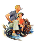 """Father Teaching Son to Sail,"" August 30, 1941 Giclee Print by Charles Dye"