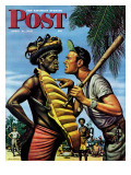 """Island Game,"" Saturday Evening Post Cover, April 21, 1945 Giclee Print by Stevan Dohanos"