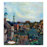 """Town Square, New Castle Delaware,"" March 17, 1962 Giclee Print by John Falter"
