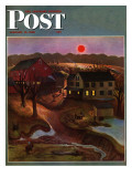 """Nighttime Farm Landscape,"" Saturday Evening Post Cover, January 12, 1946 Giclee Print by John Falter"