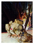 """Medic Treating Injured in Field,"" March 11, 1944 Gicleetryck av Mead Schaeffer"
