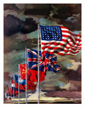 """Allied Forces Flags,"" July 3, 1943 Giclee Print by John Atherton"
