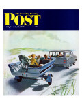 &quot;Highway Boatride,&quot; Saturday Evening Post Cover, July 14, 1962 Reproduction proc&#233;d&#233; gicl&#233;e par George Hughes