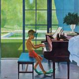 """Pianotime ved bassenget,""11. juni, 1960 Giclée-trykk av George Hughes"
