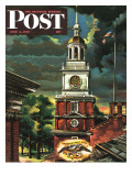 """Independence Hall, Philadelphia, Pa.,"" Saturday Evening Post Cover, June 2, 1945 Giclee Print by Allen Saalburg"
