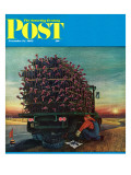 """Turkey Truck Has Flat,"" Saturday Evening Post Cover, November 24, 1962 Giclee Print by Jan Balet"