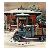"""Rural Post Office at Christmas,"" December 13, 1947 Giclee Print by Stevan Dohanos"