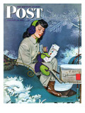 """Mail Delivery by Sleigh,"" Saturday Evening Post Cover, January 29, 1944 Giclee Print by Alex Ross"