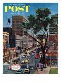 &quot;Peachtree Street,&quot; Saturday Evening Post Cover, June 25, 1960 Reproduction proc&#233;d&#233; gicl&#233;e par John Falter