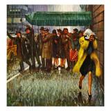"""Rainy Wait for a Cab,"" March 29, 1947 Giclee Print by John Falter"