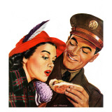 """Hot Dog for a Hot Date,"" October 10, 1942 Giclee Print by Al Moore"