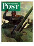 """Tank Attack,"" Saturday Evening Post Cover, January 9, 1943 Giclee Print by Mead Schaeffer"