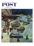 &quot;Commuter Station Snowed In,&quot; Saturday Evening Post Cover, December 24, 1960 Reproduction proc&#233;d&#233; gicl&#233;e par Ben Kimberly Prins