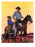 """Surveying the Ranch,"" August 19, 1944 Giclee Print by Fred Ludekens"