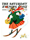 """Skiing Woman,"" Saturday Evening Post Cover, Jan/Feb 84 Giclee Print by Ann Thompson"