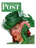 """""""Shamrock Chapeau,"""" Saturday Evening Post Cover, March 20, 1943 Giclee Print by Charles Kaiser"""