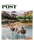 """Horseback Riding in Glacier Park,"" Saturday Evening Post Cover, July 30, 1960 Giclee Print by John Clymer"
