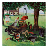 """Working on the Jalopy,"" July 15, 1961 Giclee Print by George Hughes"