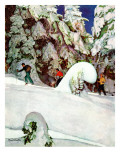 """Cross Country Skiers,"" February 2, 1946 Gicleetryck av Mead Schaeffer"