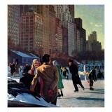 """""""Skaters in Central Park,"""" February 7, 1948 Reproduction procédé giclée par John Falter"""