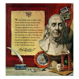 """Benjamin Franklin - bust and quote,"" January 16, 1960 Giclee Print by Stanley Meltzoff"