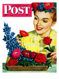 """Arranging Flowers,"" Saturday Evening Post Cover, June 5, 1943 Giclee Print by Al Moore"