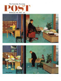 """Putting Time in the Office,"" Saturday Evening Post Cover, February 18, 1961 Giclee Print by Richard Sargent"