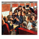 """Commuter Card Game,"" March 15, 1947 Giclee Print by Constantin Alajalov"
