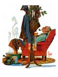 """Postman Soaking Feet,"" December 21, 1940 Giclee Print by Joseph Christian Leyendecker"