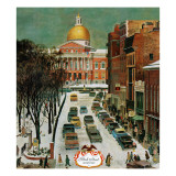 &quot;Park Street, Boston,&quot; January 7, 1961 Giclee Print by John Falter
