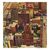 &quot;Bird&#39;s-Eye View of New York City,&quot; August 17, 1946 Giclee Print by John Falter