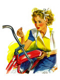 """Flat Bike Tire,"" July 24, 1943 Giclée-Druck von Alex Ross"