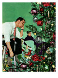 """Trimming the Tree,"" December 24, 1949 Giclee Print by George Hughes"
