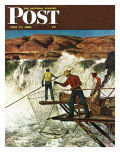 """Salmon Fishing,"" Saturday Evening Post Cover, July 17, 1948 Giclee Print by John Atherton"