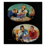 """Fathers' Homework,"" May 7, 1960 Giclee Print by John Falter"