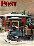"""Rural Post Office at Christmas,"" Saturday Evening Post Cover, December 13, 1947 Reproduction procédé giclée par Stevan Dohanos"