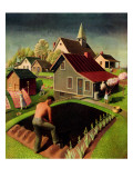 """Spring 1942,"" April 18, 1942 Reproduction procédé giclée par Grant Wood"