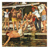 &quot;Wet Camp Counselor,&quot; August 27, 1949 Giclee Print by Austin Briggs