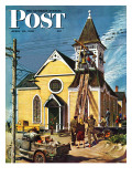 &quot;Church Belfry Repair,&quot; Saturday Evening Post Cover, April 20, 1946 Giclee Print by E. Melbourne Brindle