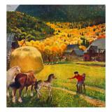 """Belgian Horse Farm,"" October 8, 1949 Giclee Print by John Clymer"