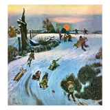 """Sledding by Sunset,"" December 18, 1948 Giclee Print by John Falter"