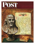 """Benjamin Franklin, 1947,"" Saturday Evening Post Cover, January 18, 1947 Giclee Print by John Atherton"