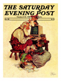 &quot;Santa&#39;s Computer,&quot; Saturday Evening Post Cover, December 1, 1982 Giclee Print by Scott Gustafson